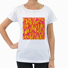Pink and yellow pattern Women s Loose-Fit T-Shirt (White)