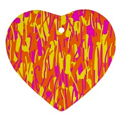 Pink and yellow pattern Heart Ornament (2 Sides)