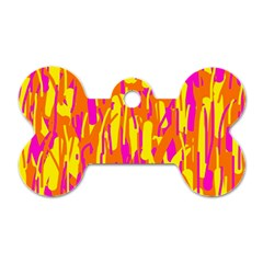 Pink and yellow pattern Dog Tag Bone (One Side)
