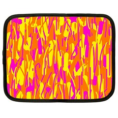 Pink and yellow pattern Netbook Case (Large)