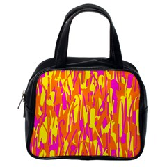 Pink and yellow pattern Classic Handbags (One Side)