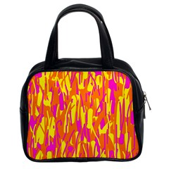 Pink and yellow pattern Classic Handbags (2 Sides)