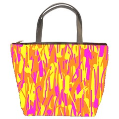 Pink and yellow pattern Bucket Bags