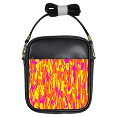 Pink and yellow pattern Girls Sling Bags