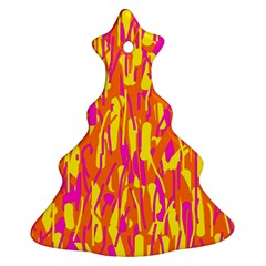 Pink and yellow pattern Christmas Tree Ornament (2 Sides)