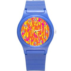 Pink and yellow pattern Round Plastic Sport Watch (S)