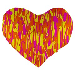 Pink and yellow pattern Large 19  Premium Heart Shape Cushions