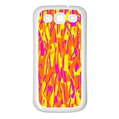 Pink and yellow pattern Samsung Galaxy S3 Back Case (White)