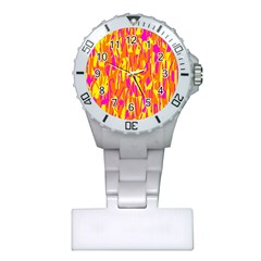 Pink and yellow pattern Plastic Nurses Watch