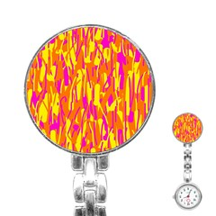 Pink and yellow pattern Stainless Steel Nurses Watch