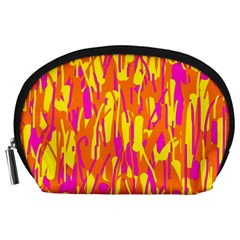 Pink and yellow pattern Accessory Pouches (Large)