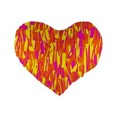 Pink and yellow pattern Standard 16  Premium Flano Heart Shape Cushions