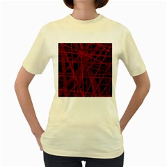 Black and red pattern Women s Yellow T-Shirt