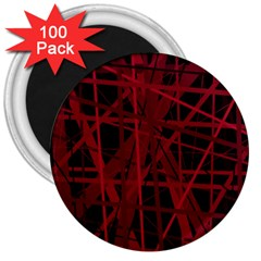 Black and red pattern 3  Magnets (100 pack)