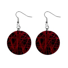 Black And Red Pattern Mini Button Earrings