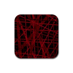 Black and red pattern Rubber Coaster (Square)