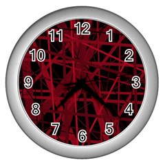 Black and red pattern Wall Clocks (Silver)