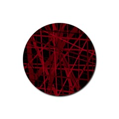 Black and red pattern Rubber Round Coaster (4 pack)