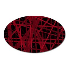 Black and red pattern Oval Magnet