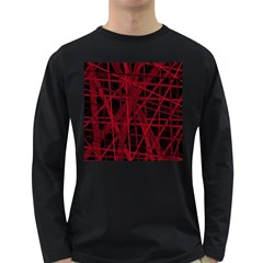 Black and red pattern Long Sleeve Dark T-Shirts