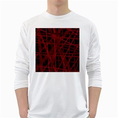 Black and red pattern White Long Sleeve T-Shirts