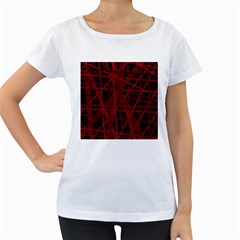 Black and red pattern Women s Loose-Fit T-Shirt (White)