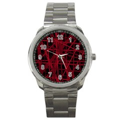 Black and red pattern Sport Metal Watch