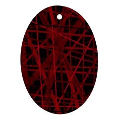 Black and red pattern Oval Ornament (Two Sides)