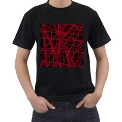Black and red pattern Men s T-Shirt (Black)