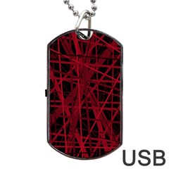 Black and red pattern Dog Tag USB Flash (Two Sides)