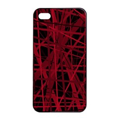 Black and red pattern Apple iPhone 4/4s Seamless Case (Black)