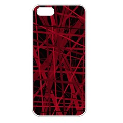 Black and red pattern Apple iPhone 5 Seamless Case (White)