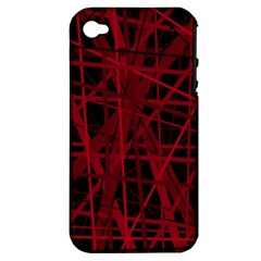 Black and red pattern Apple iPhone 4/4S Hardshell Case (PC+Silicone)