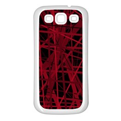 Black and red pattern Samsung Galaxy S3 Back Case (White)