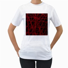 Black and red pattern Women s T-Shirt (White)