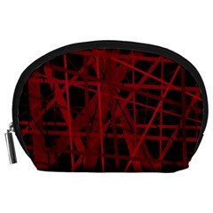 Black and red pattern Accessory Pouches (Large)