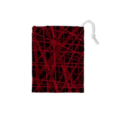 Black and red pattern Drawstring Pouches (Small)