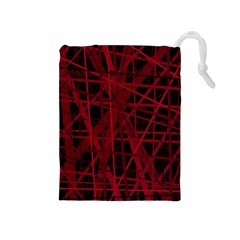 Black and red pattern Drawstring Pouches (Medium)