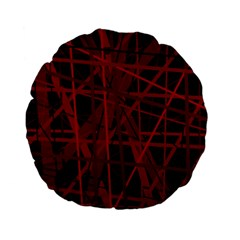 Black and red pattern Standard 15  Premium Flano Round Cushions