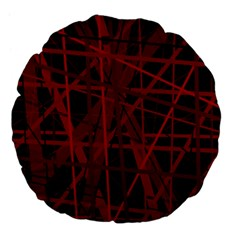 Black and red pattern Large 18  Premium Flano Round Cushions
