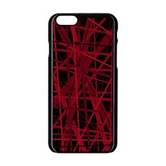 Black and red pattern Apple iPhone 6/6S Black Enamel Case