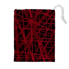 Black and red pattern Drawstring Pouches (Extra Large)