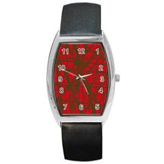 Red pattern Barrel Style Metal Watch