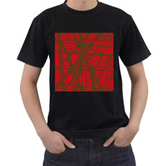 Red pattern Men s T-Shirt (Black) (Two Sided)