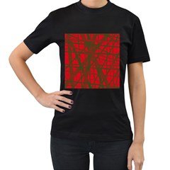 Red pattern Women s T-Shirt (Black)