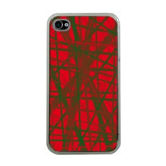 Red pattern Apple iPhone 4 Case (Clear)