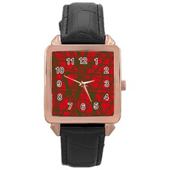 Red pattern Rose Gold Leather Watch