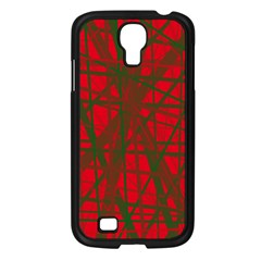 Red pattern Samsung Galaxy S4 I9500/ I9505 Case (Black)