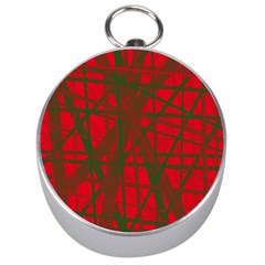 Red pattern Silver Compasses