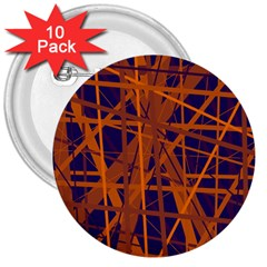 Blue and orange pattern 3  Buttons (10 pack)